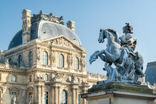 Louis XIV Equestrian Statue In Front Of The Louvre Museum, Paris, France