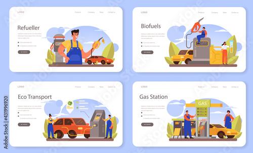 Fototapeta Refueler web banner or landing page set. Gas station worker in uniform working obraz