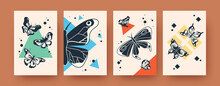 Set Of Banners With Ink Butterflies On Pastel Background. Creative Black Scandinavian Butterflies Vector Illustrations. Insects And Wildlife Concept For Social Media, Postcards, Invitation Cards