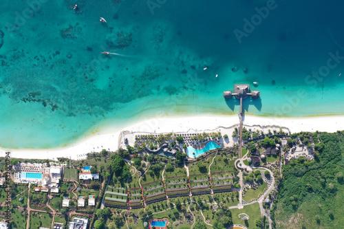 Canvastavla Tropical Sea. Amazing bird eyes view in Zanzibar