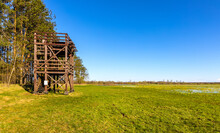 Panoramic Viewing Platform Over Narew River Wetlands And Nature Reserve In Zajki Village Of Podlaskie Voivodship Near Wizna In Poland