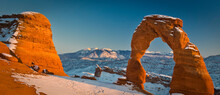 Winter Sunset On Delicate Arch In Arches National Park, Utah