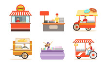 Street Cart And Booth With Man And Woman At Market Stall Selling Snacks And Drinks Vector Set