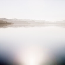 Scenic View Of Crystal Springs Reservoir In The Early Morning Light, Northern Santa Cruz Mountains Of San Mateo County, California.
