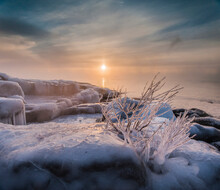 In Winter The Sun Rose Slowly Over Lake Superior While The Open Water And -20 F Degree Air Mixed, Creating Thick Wisps Of Sea Smoke. Brighton Beach, Duluth, MN.