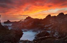 Fiery Sunset At Corona Del Mar, California