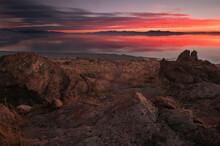 Sunset Over The Great Salt Lake Taken From Antelope Island State Park, Utah.