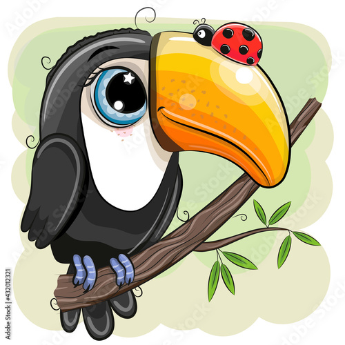 Fototapeta premium Cartoon Toucan with ladybug is sitting on a branch