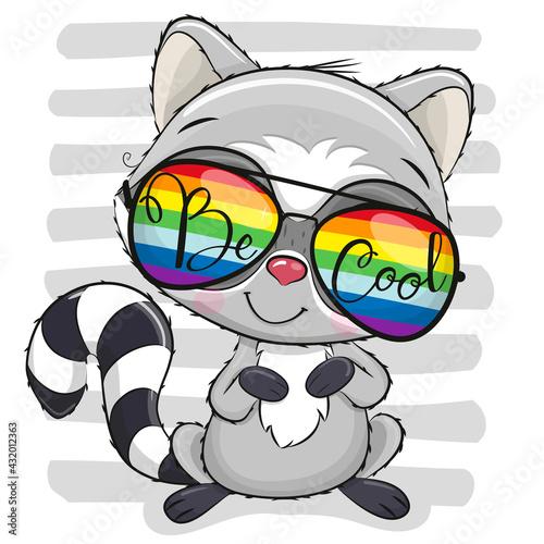 Obraz Cute Raccoon with sun glasses on striped background - fototapety do salonu