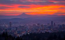 Purple, Pink And Orange Sunrise Color Over Portland, Oregon
