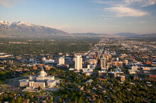 Aerial View Of Utah State Capitol And Downtown Salt Lake City, UT.