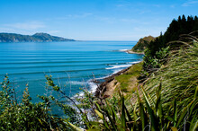 Swell Lines Roll In On The South Coast Of The Maya Peninsula On The North Island Of New Zealand