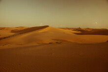 The Sam Sand Dunes Just Before Sunset In Sam, Rajasthan, India