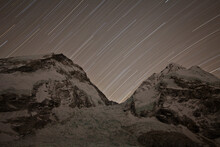 Star Trails Over Mount Everest, Nuptse And The Khumbu Icefall. May 2012