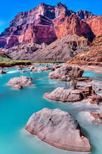 Aqua Colored Waters Of The Little Colorado River Confluence With The Main Fork Of The Colorado River In Grand Canyon National Park.