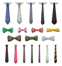 Collection Of Ties And Bow Ties. Men Fashioned Accessories. Clothes Design Element Over Isolated On White Background. Fabric Items For Male Wardrobe In Elegant Style
