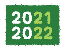 2021-2022 Numbers On Green Background. 2021-2022 Concept