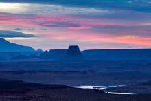 Lake Powell At Sunset, Colorado River, Arizona And Utah, USA