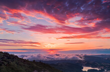 A Beautiful And Vibrant Pink Landscape Photo From The Tallest Peak In Marin County, Just North Of San Francisco
