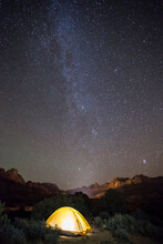 Yellow Tent Under The Milky Way In Zion