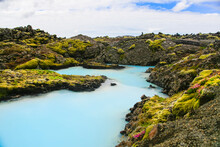 One Of The Most Famous And Most Beautiful Geothermal Baths In The World, The Blue Lagoon In Iceland Is A Very Beautiful And Surreal Landscape.