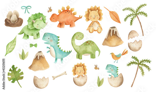 Photo Baby Dinosaurs watercolor illustration with  cute animals for nursery and baby s