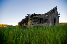 An Old Cabin Falling Down In The Tobacco Root Mountains Near Pony Montana.