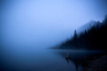 Early Morning Fog Over Green River Lakes In The Wind River Range In Wyoming