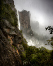 Bridal Veil Fall In The Falling Snow, Yosemite Valley National Park