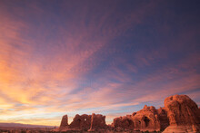 Sunset At The Double Arch At The Windows In Arches National Park, Utah