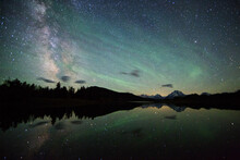 Very Early In The Morning, The Milky Way Is Visible In The Skies Above Grand Teton National Park In Northwest Wyoming.