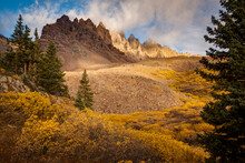 Early Morning Light On The Jagged Peaks Above Cathedral Lake In Fall. Aspen, Colorado.