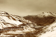 Snow Covered Mountains Between Kashmir And Ladakh On The Srinagar-Leh Highway.