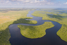A Boat Heads Into The Backcountry Of Everglades National Park, Florida.