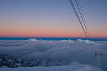 Sunrise On Hidden Peak At Snowbird Resort Utah