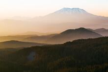 Mt St Helens At Sunset Seen From An Unnamed Peak Near Mt Adams. Washington