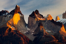 Chile, Magallanes Region, Torres Del Paine National Park, Lago Pehoe, Landscape, Dawn.