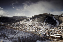 Snowy Winter Town Scene In Park City, UT