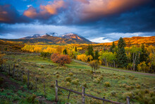 An Autumn Sunrise Over A Colorado Ranch Near Carbondale.