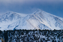 A Winter Storm Blows Across The Twin Summits Of Mt. Sopris In The Rocky Mountains Near Carbondale, Colorado.