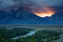 Scenic Landscape Image Of Sunset At Snake River Overlook In Grand Teton National Park, Wyoming.
