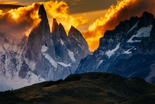Sunset Over The Cerro Torre Spires In Los Glacieres National Park, Argentina.