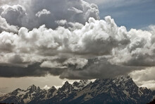 Tetons With Massive Storm Clouds In Grand Teton National Park, Wyoming