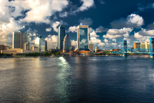 Jacksonville, Florida: A View Of Downtown Jacksonville And The Main Street Bridge From The Acosta Bridge