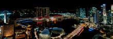 Night In Singapore Panorama Of City Featuring Marina Bay Hotel.