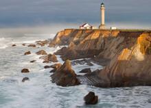 The Point Arena Lighthouse On California's Mendocino Coastline.