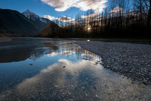 Mt. Cheam Reflected Into The Fraser River, Fraser Valley, Canada.