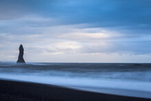 Sea Stack At Reynisdrangar At Dusk. Vik. Iceland.
