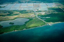 Aerial View Of The Jungles, Beaches And Farmland Along The East Coat Of Belize.