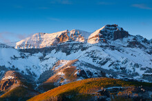 The Last Warm Rays Of Sunset Drape Over The Peaks In The San Juan Mountains Near Telluride, Colorado.